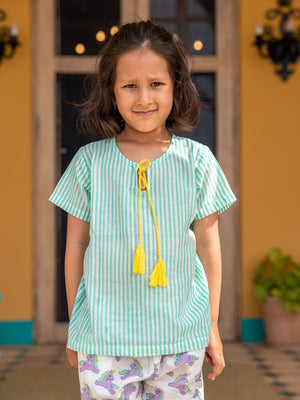 Aqua Stripes Organic Cotton Top