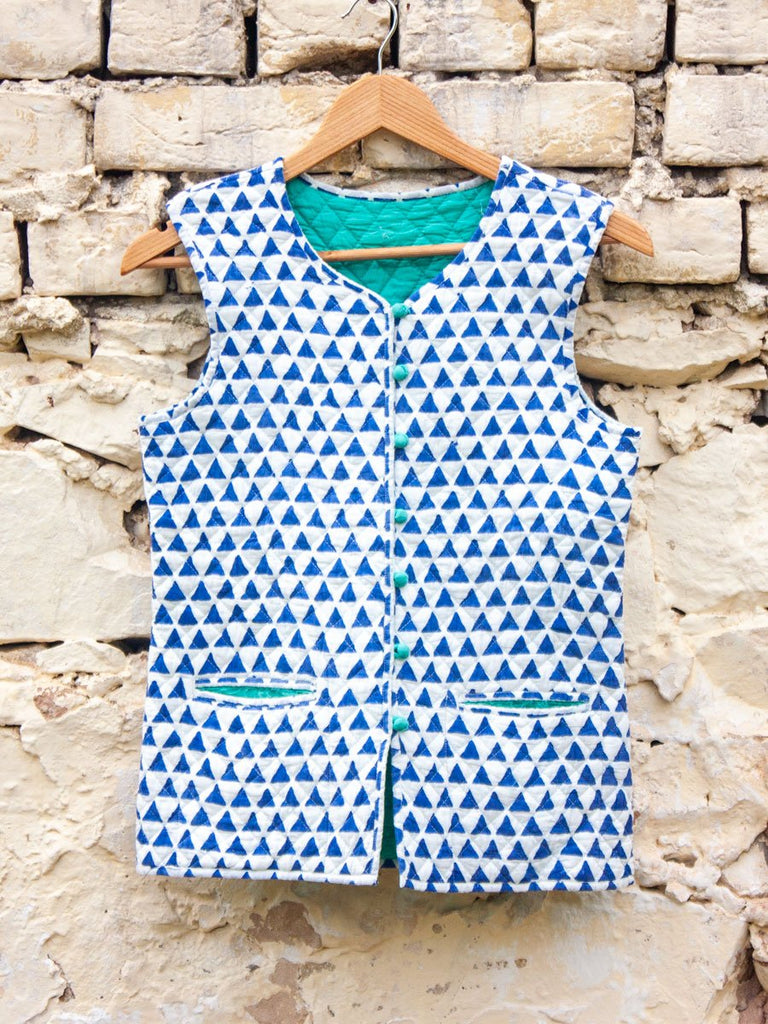 Indigo Triangle Sleeveless Quilted Jacket