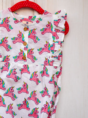 Unicorn Organic Cotton Romper - Pinklay