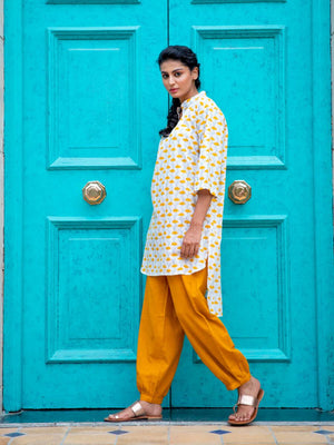 Wildflower Cotton Kurta & Lantern Pants Set - Pinklay