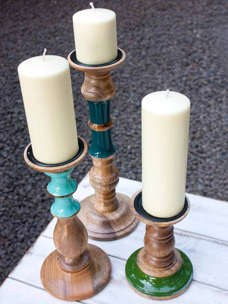Wooden Handcarved Candle Stand - Small Home Decor