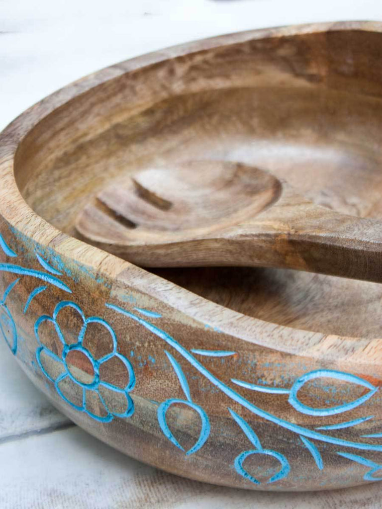 Handcarved Large Wooden Salad Bowl with Mixing Spoon Wooden Tableware