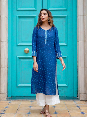 Blue Valley Cotton Long Kurta with Pockets - Pinklay