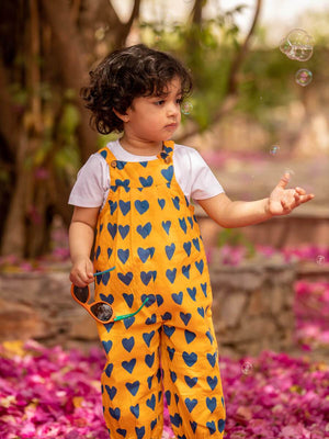 Fairy Dust Organic Cotton Long Dungarees - Pinklay