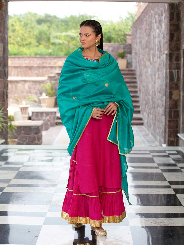 Fuscia Cotton Rayon Sharara Set With Chanderi Dupatta - Pinklay