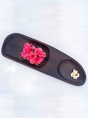 Petrichor Handcarved Solid Wood Platter - Pinklay