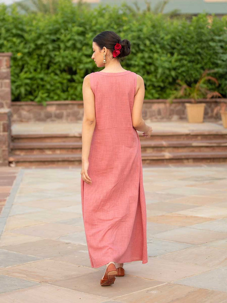 Salmon Pink Sleeveless Cotton Pintuck Dress - Pinklay