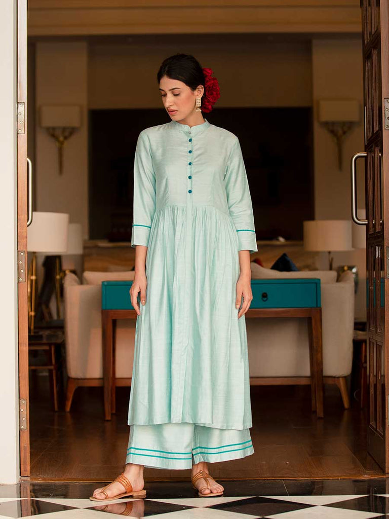Sifar A-Line Silk Long Kurta - Pinklay