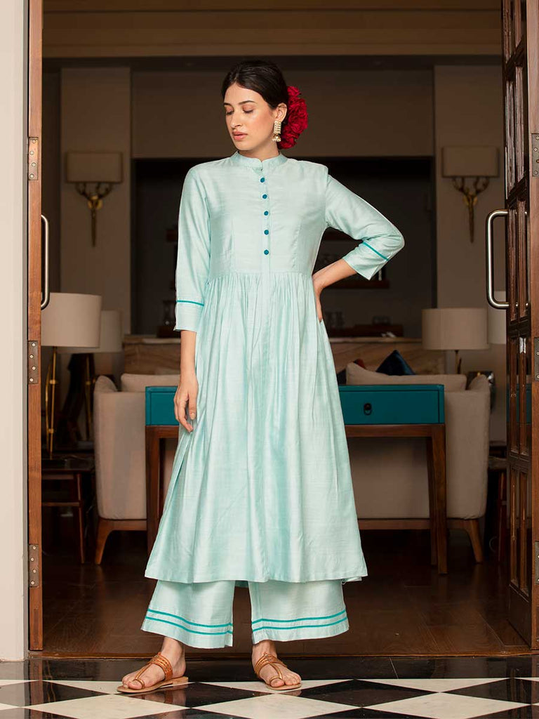 Sifar Silk Kurta Set With Modal Silk Dupatta - Pinklay