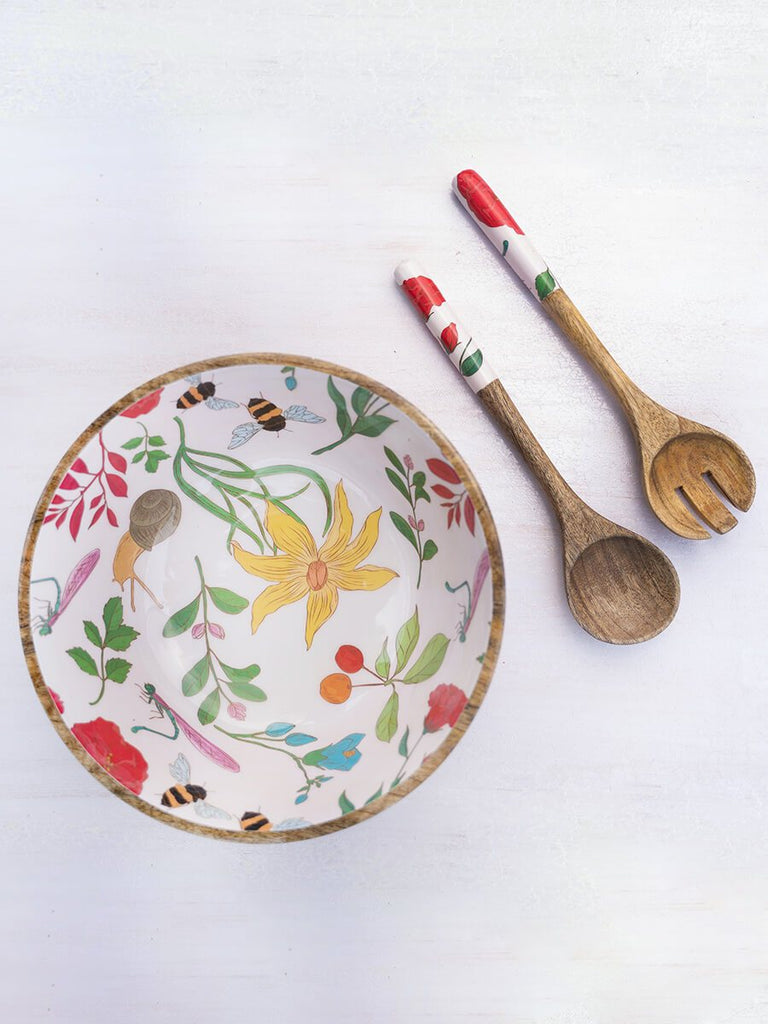 Summer House Large Wooden Salad Bowl With Two Spoons - Pinklay