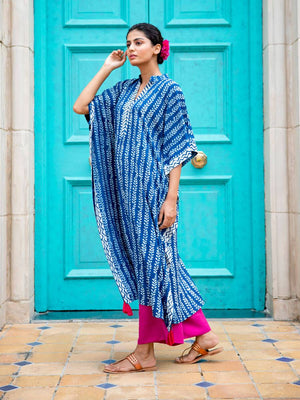 Trumpet Vine Cotton Kaftan Dress With Tassels - Pinklay