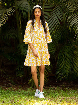 Yellow Rose Cotton Pintuck Dress - Pinklay