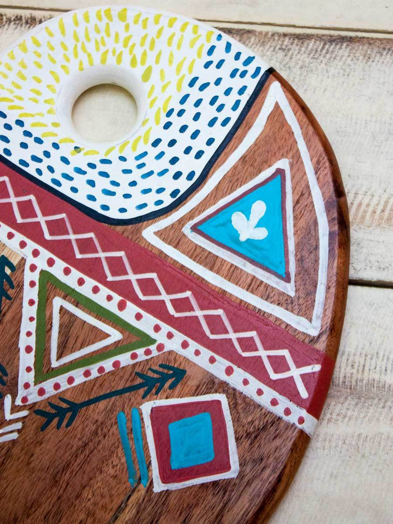 Masaai Hand Painted Solid Wood Platter