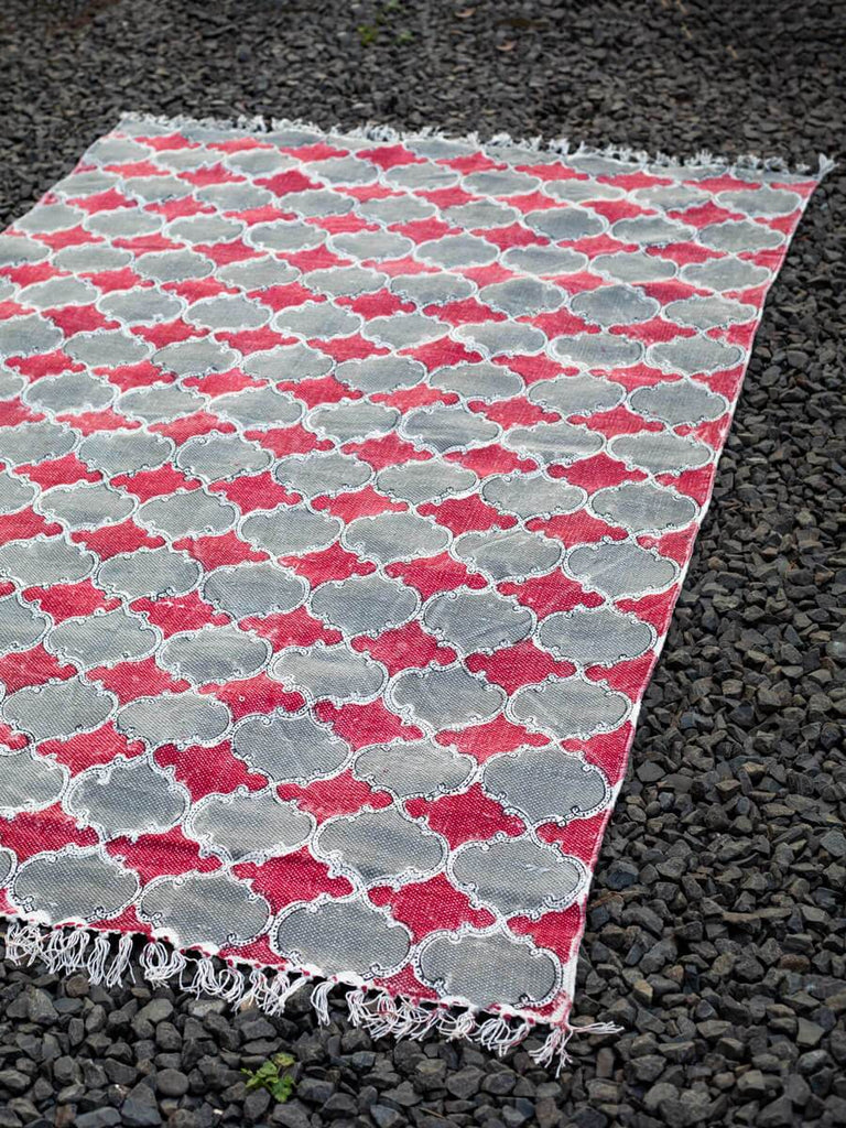 Royal Arch Hand Block Print Cotton Dhurrie Rug