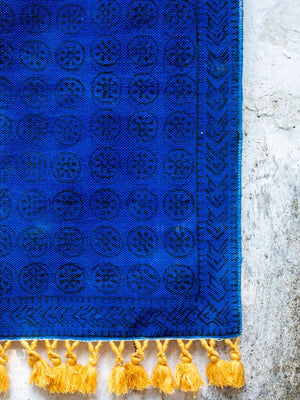 Samudra Handloom Cotton Dhurrie Rug with Tassels
