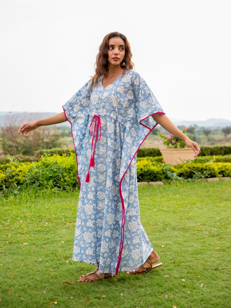 Rimjhim Hand Block Printed Cotton Kaftan - Pinklay
