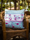 Romantic Lavender Hand Block Print Cotton Cushion Cover (24 Inch) - Pinklay
