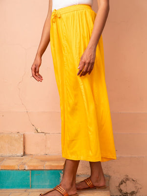 Solid Yellow Wide Flared Modal Silk Palazzo Pants