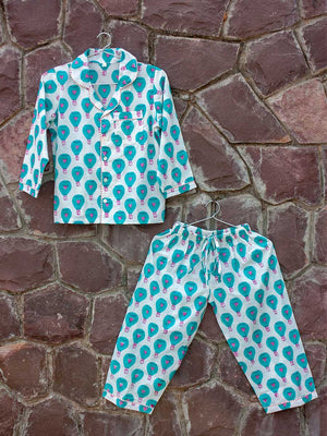 Turquoise Hot Air Balloon Organic Cotton Top & Pajama Set - Pinklay