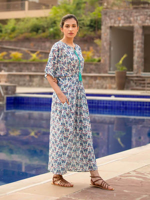 Wings of Wonder Hand Block Print Modal Silk Kaftan Dress
