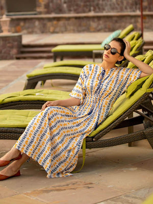 Summer Ferns Hand Block Print Modal Silk Kaftan Dress