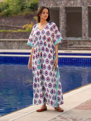 Summer Cocktail Hand Block Printed Kaftan