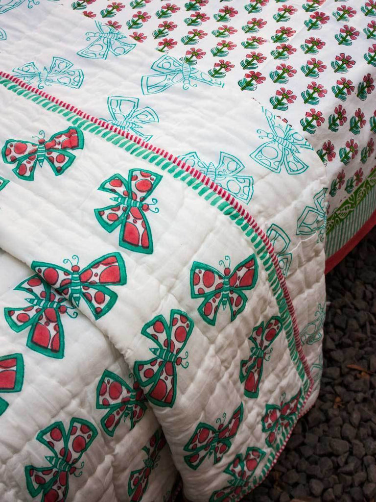 Butterfly GOTS Certified Organic Cotton Reversible Single Bed Quilt Kids Quilts & Dohars