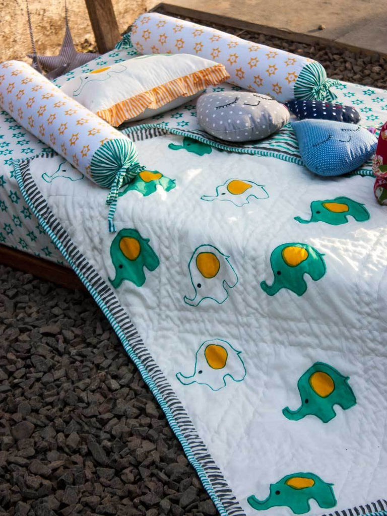 Appu GOTS Certified Organic Cotton Reversible Quilt for Infants and Toddlers Kids Quilts & Dohars