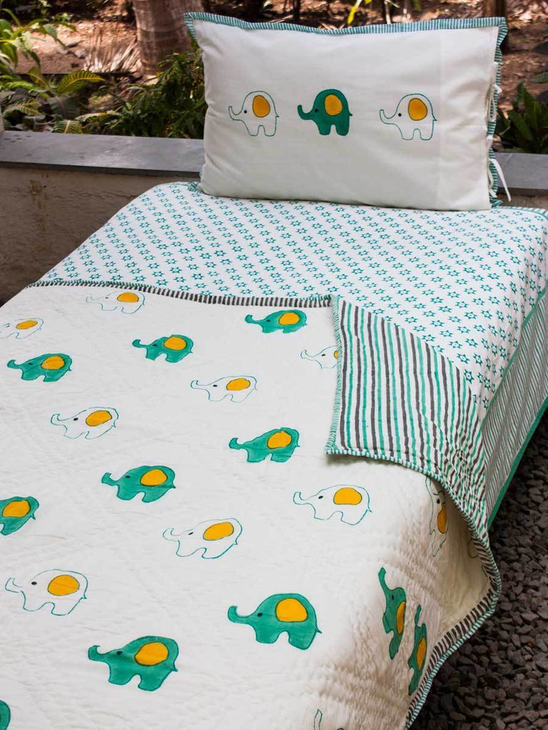 Appu GOTS Certified Organic Cotton Reversible Single Bed Quilt Kids Quilts & Dohars