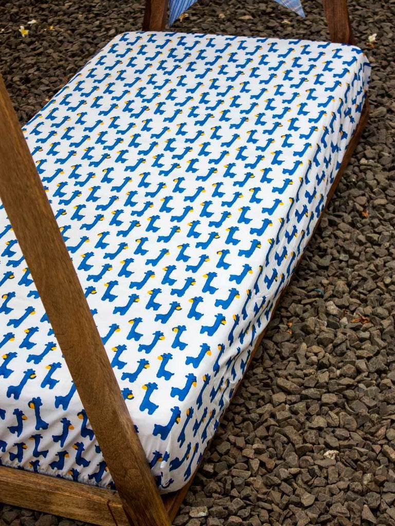 Blue Giraffe Cotton Cot/Crib Fitted Sheet Kids Fitted Sheet