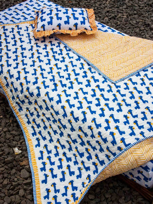 Blue Giraffe GOTS Certified Organic Cotton Reversible Quilt for Infants and Toddlers Kids Quilts & Dohars
