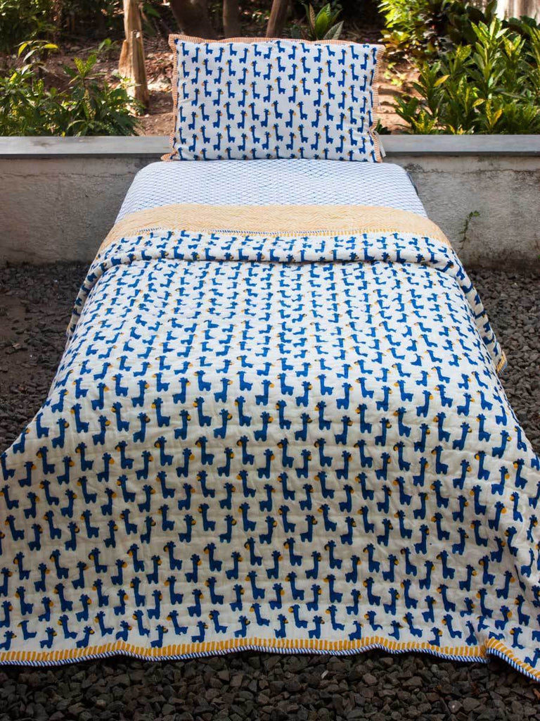 Blue Giraffe GOTS Certified Organic Cotton Reversible Single Bed Quilt Kids Quilts & Dohars