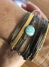 Load image into Gallery viewer, Featured in yellow gold filled and taupe, paired here with Harra (XL) and Thalassa (ena)