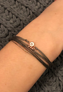 Tyhi: Rose vermeil Greek cord bracelet
