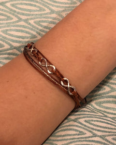 Featured in rust with brown-silver sparkly cord