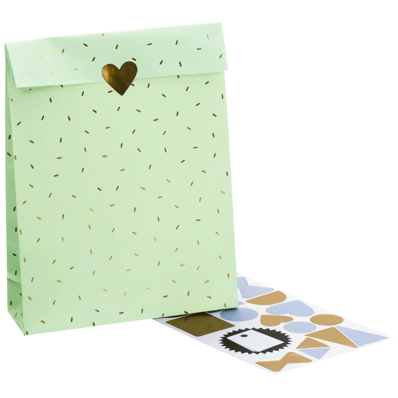Cross Bottom Gift Bags 13x4.5x20cm Care Mint (Patterns)
