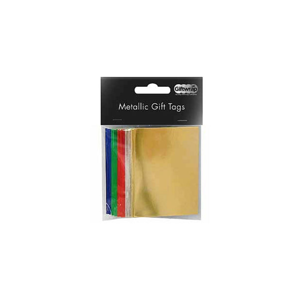 Metallic Traditional Assorted Gift Tag Packs 50x70mm with String