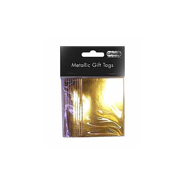 Metallic Gold Gift Tag Packs 50x70mm with String
