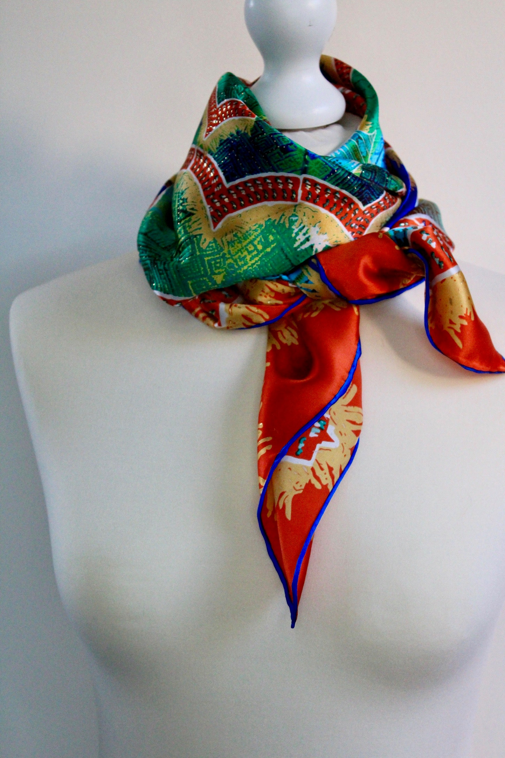 Exquisite Silk scarf.  Hand rolled square silk
