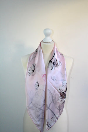 Japanese inspired print . grey lotus flower on pink  silk background .   Perfect . simple elegance   90cm x 90 cm   Hand rolled trim      90cm x 90 cm   Hand rolled trim
