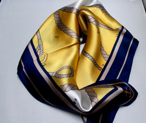 Small square silk neck scarf