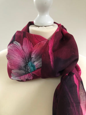 Cerise /Fuschia Pashmina with brushstroke floral detail