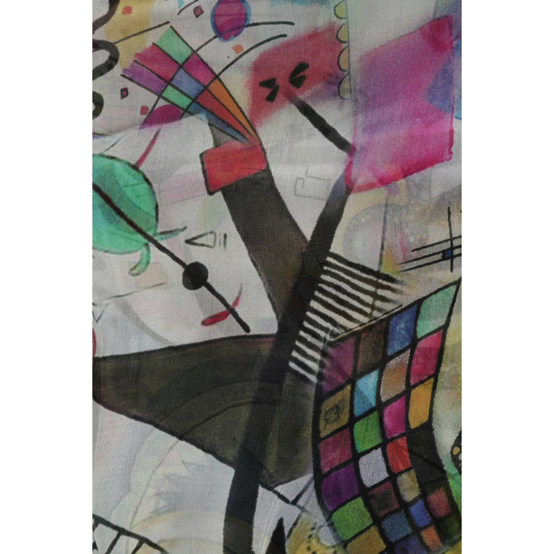 Abstract black and white with colour  Large light silk