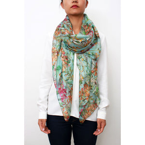 Large light silk Mint green with  wild flowers .