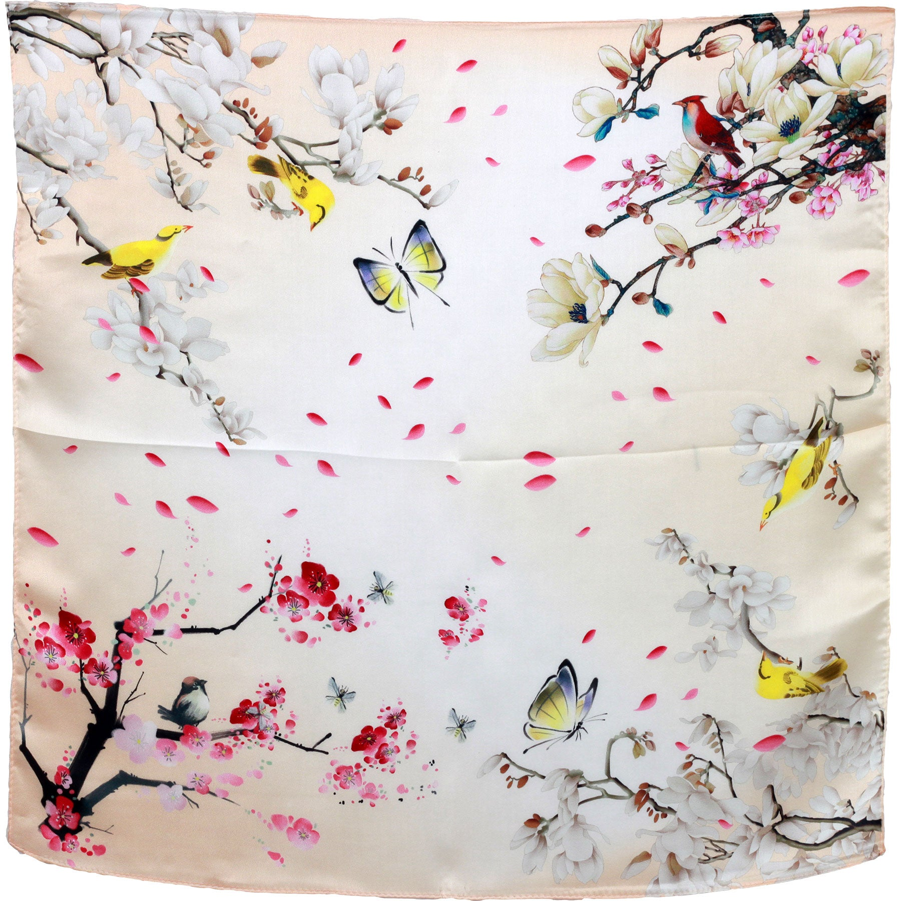 Cherry blossom butterflies.   small silk square neck scarf