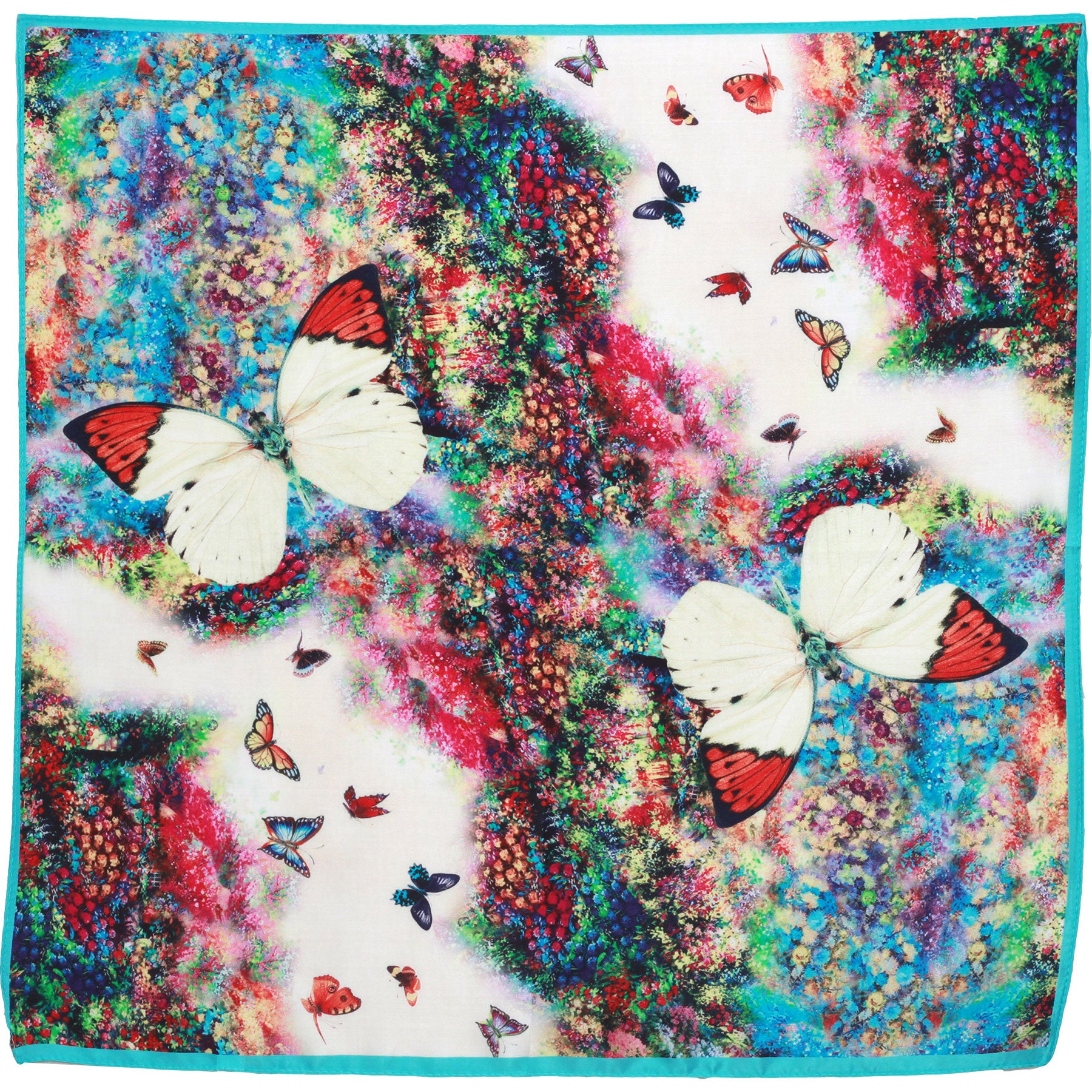 Small butterfly  silk neck scarf 45cm x 45cm