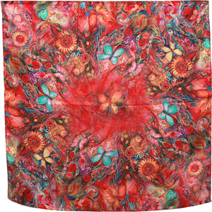 Red and blue  butterfly  hand rolled trim square silk scarf