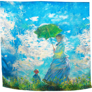 Sky blue classic painting .  Large hand rolled square silk scarf