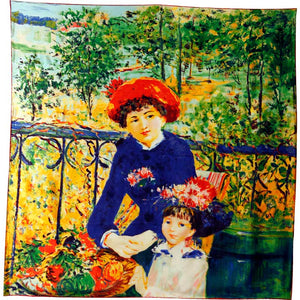 Renoir.The two sisters . Silk Square 90cm x 90xm