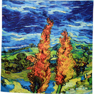 Van Gogh . Cyprus tree.   Hand rolled square silk